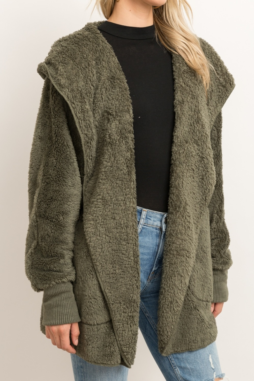 Hem & Thread Fur Open Jacket - Front Cropped Image