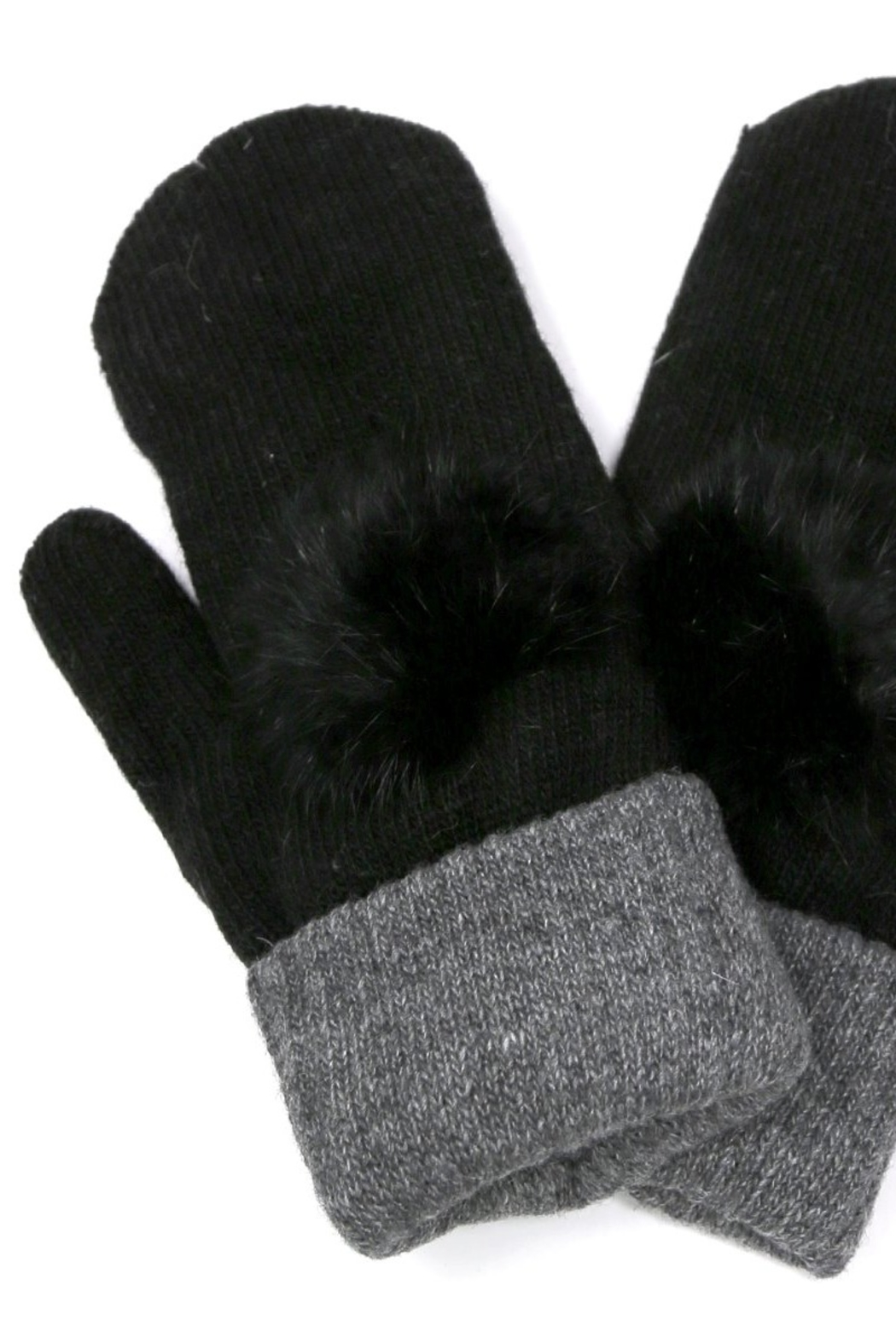 US Jewelry House Fur Pom Pom Detail Mitten - Main Image