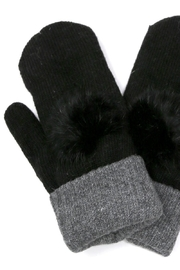 US Jewelry House Fur Pom Pom Detail Mitten - Front cropped