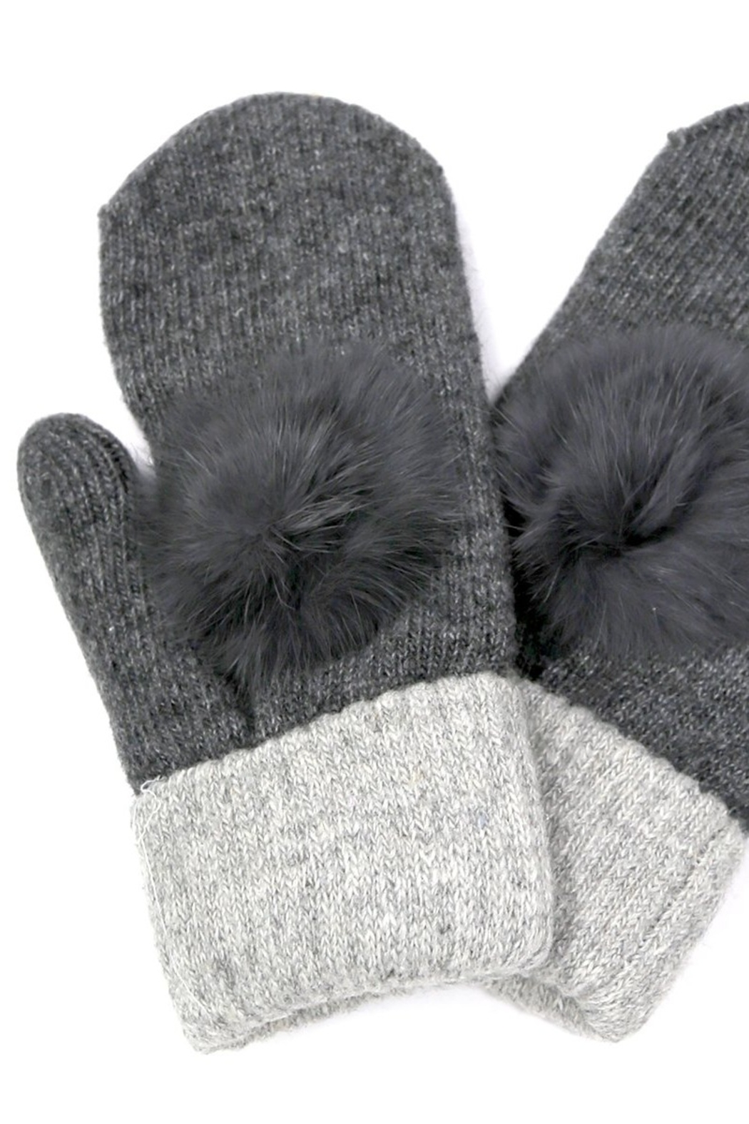 US Jewelry House Fur Pom Pom Detail Mitten - Front Cropped Image