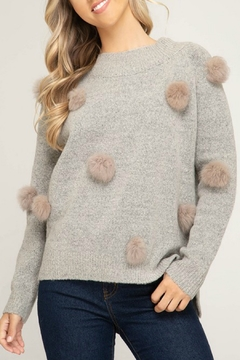 She + Sky Fur Pom Sweater - Product List Image