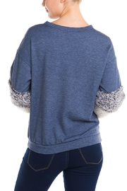 Signature 8 Fur Sleeve Sweater - Back cropped