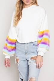 blue blush Fur Sleeve Sweatshirt - Product Mini Image