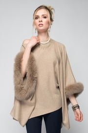 Aspen True Fur Trim Poncho - Product Mini Image