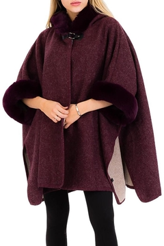 Shoptiques Product: Fur Trimmed Hooded-Poncho