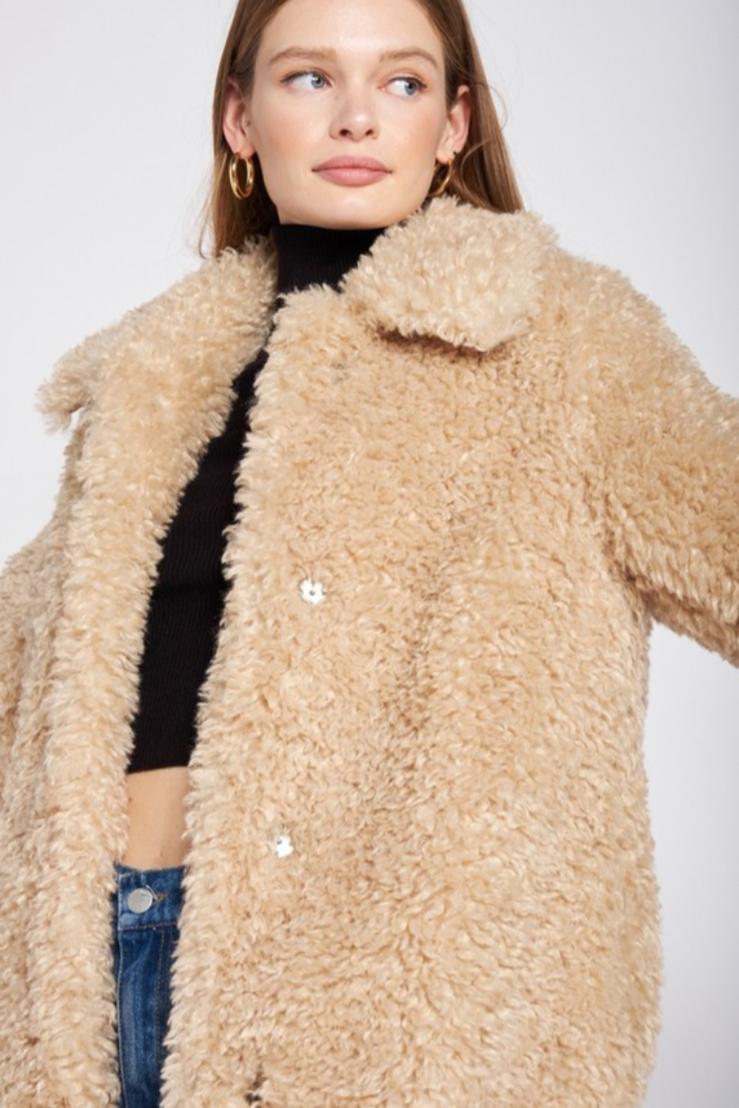 Emory Park Furry Coat with Lapel Collar - Back Cropped Image