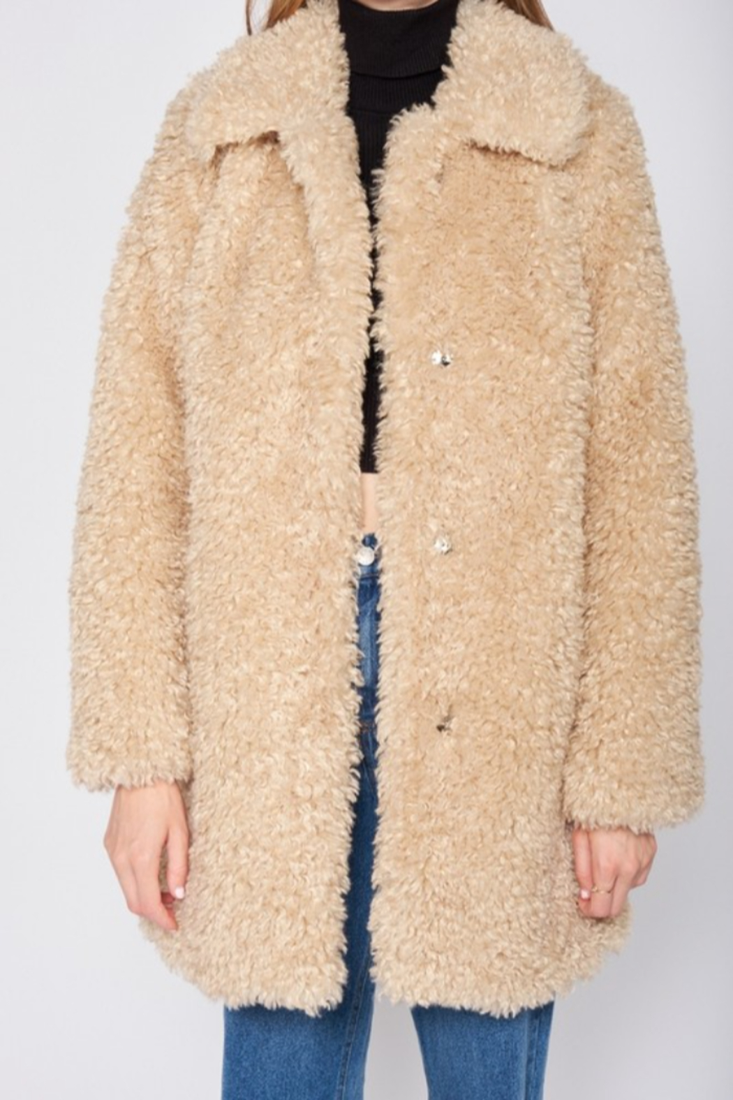 Emory Park Furry Coat with Lapel Collar - Side Cropped Image