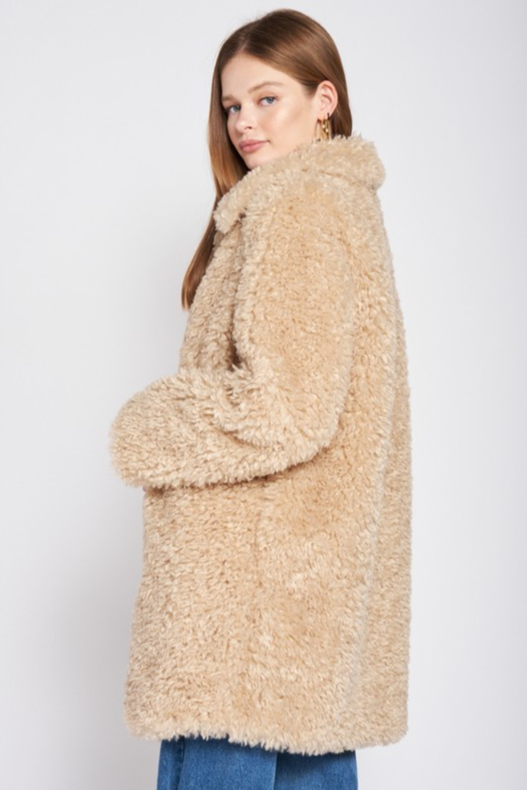 Emory Park Furry Coat with Lapel Collar - Front Full Image