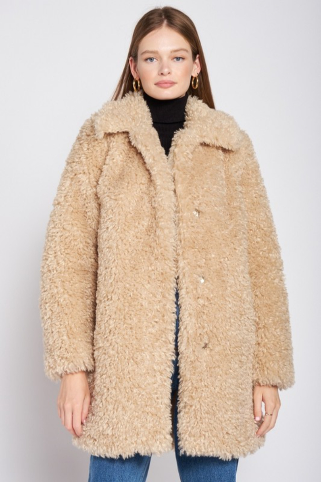 Emory Park Furry Coat with Lapel Collar - Main Image