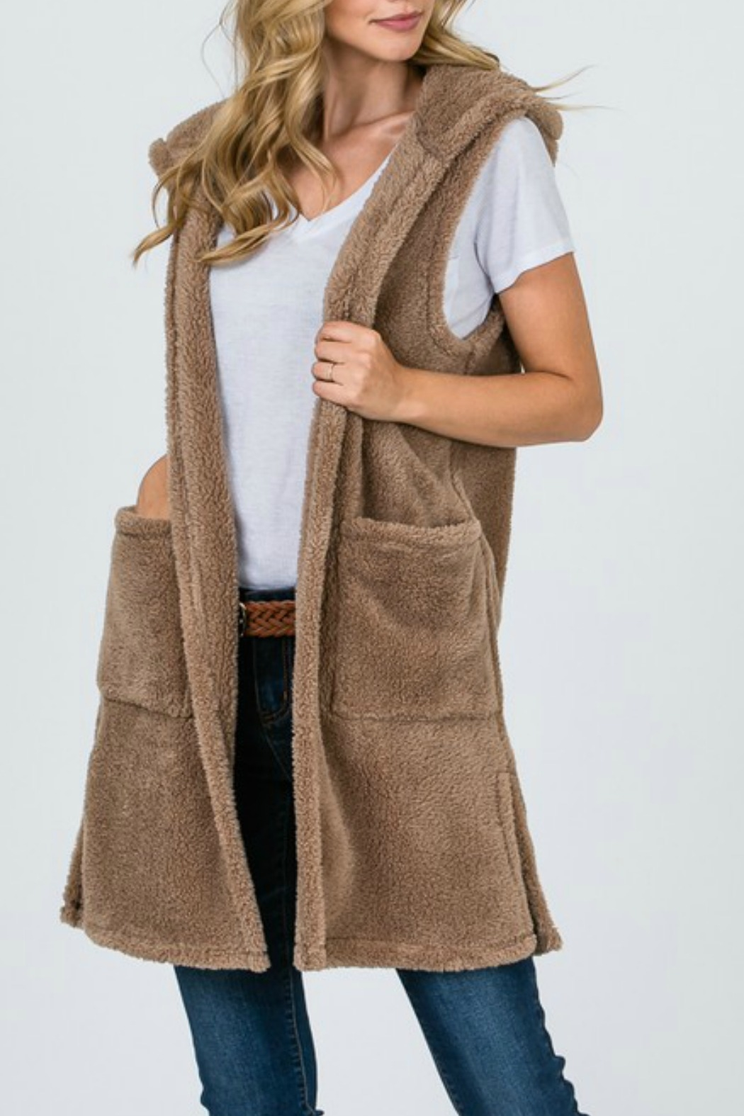 Tres Bien Furry Hoodie Vest - Front Cropped Image