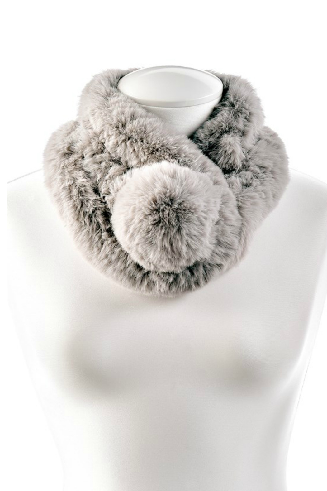 Gift Craft Furry Pompom Scarf - Front Cropped Image