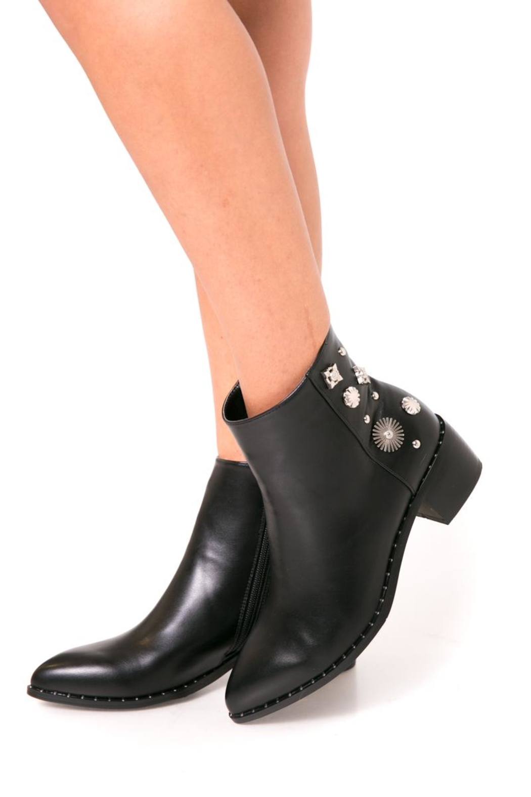 Fuzzi Decorated  Rivets Booties - Side Cropped Image