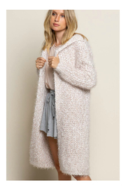 Pol Clothing Fuzzy alpaca cardigan sweater with oversized hood - Other