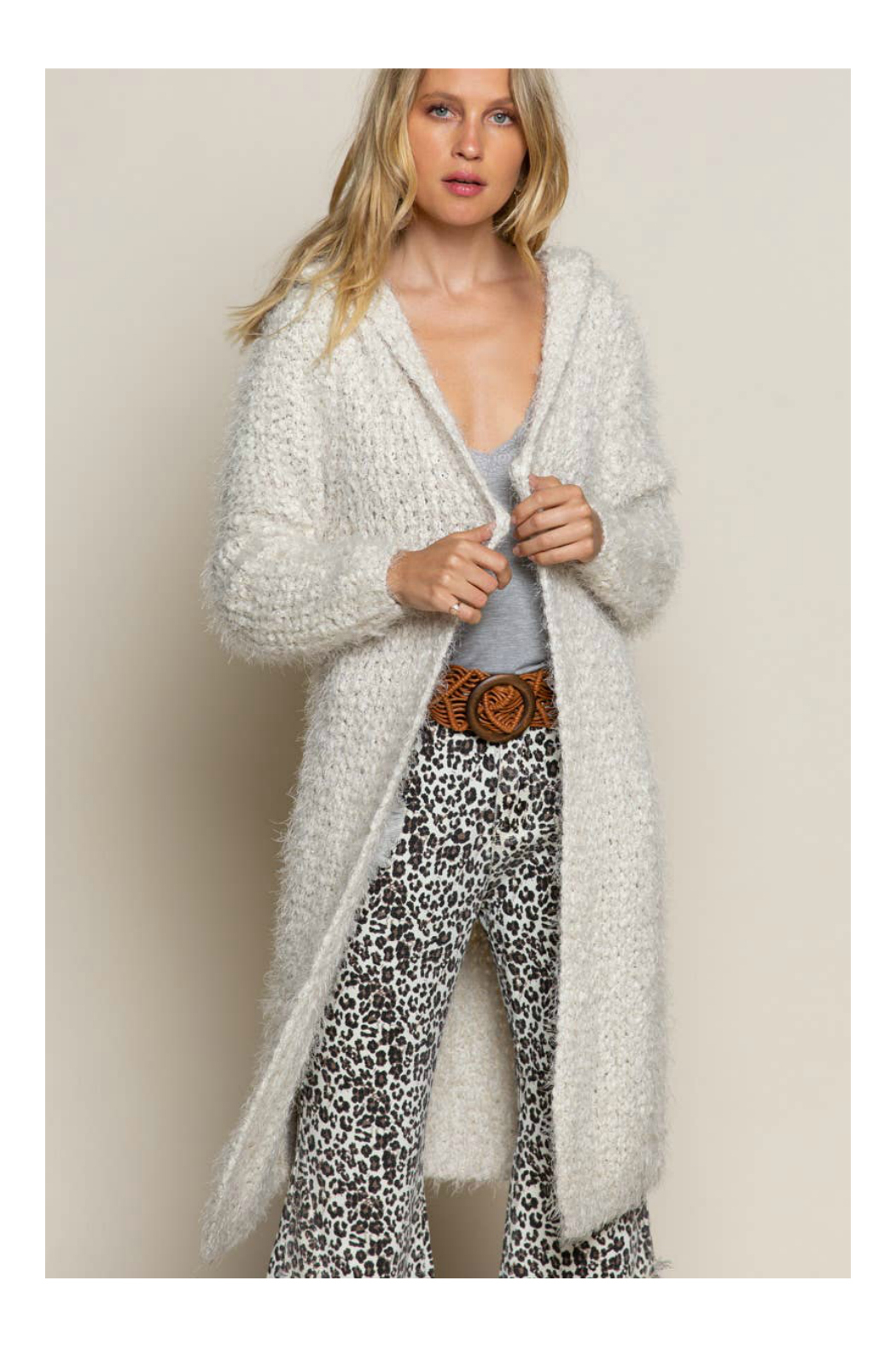Pol Clothing Fuzzy alpaca cardigan sweater with oversized hood - Front Cropped Image