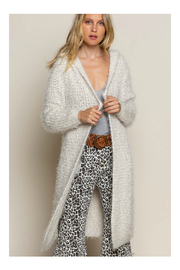 Pol Clothing Fuzzy alpaca cardigan sweater with oversized hood - Front cropped