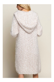 Pol Clothing Fuzzy alpaca cardigan sweater with oversized hood - Side cropped