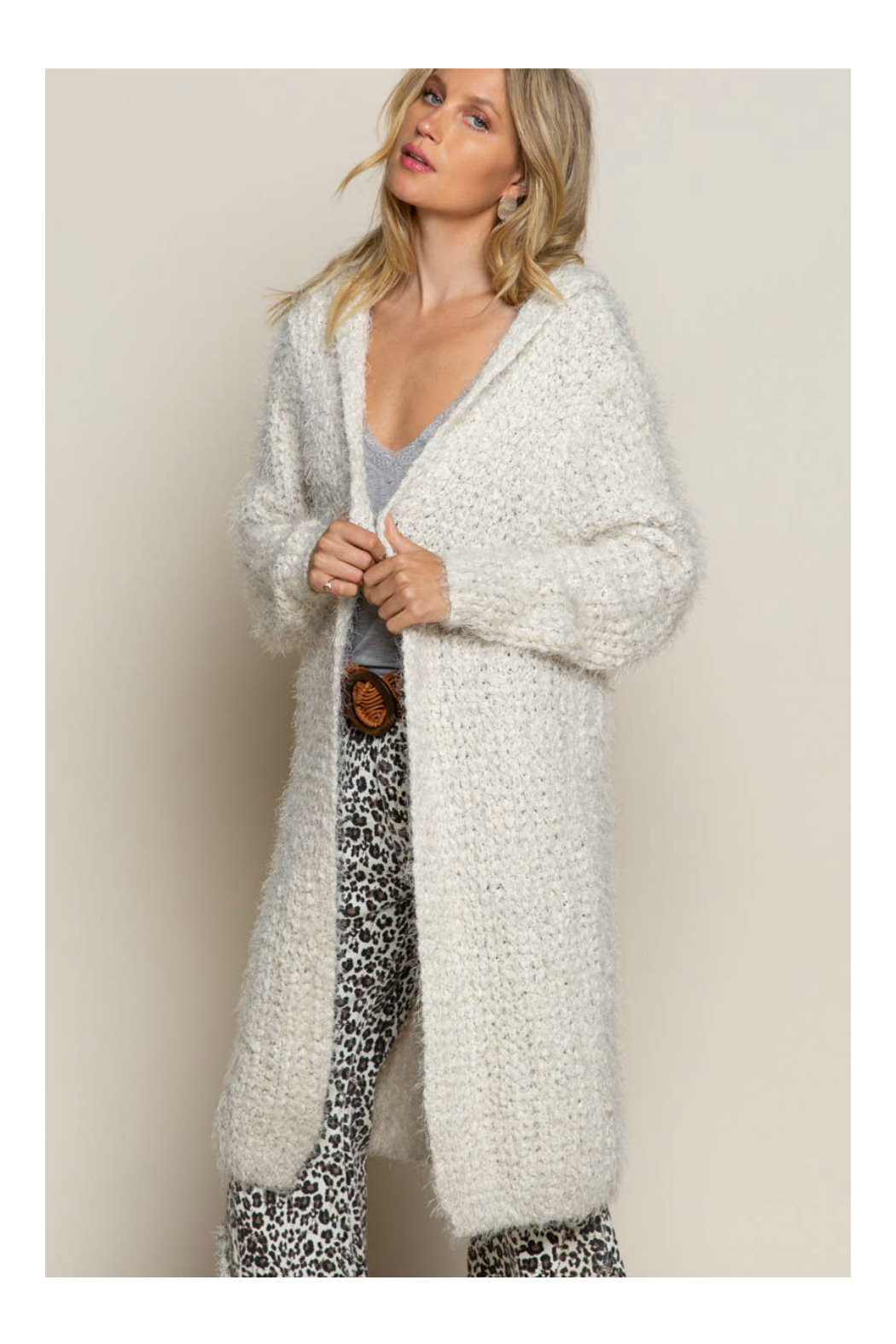 Pol Clothing Fuzzy alpaca cardigan sweater with oversized hood - Front Full Image