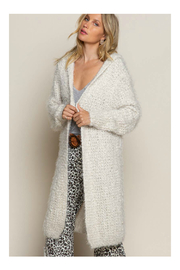 Pol Clothing Fuzzy alpaca cardigan sweater with oversized hood - Front full body