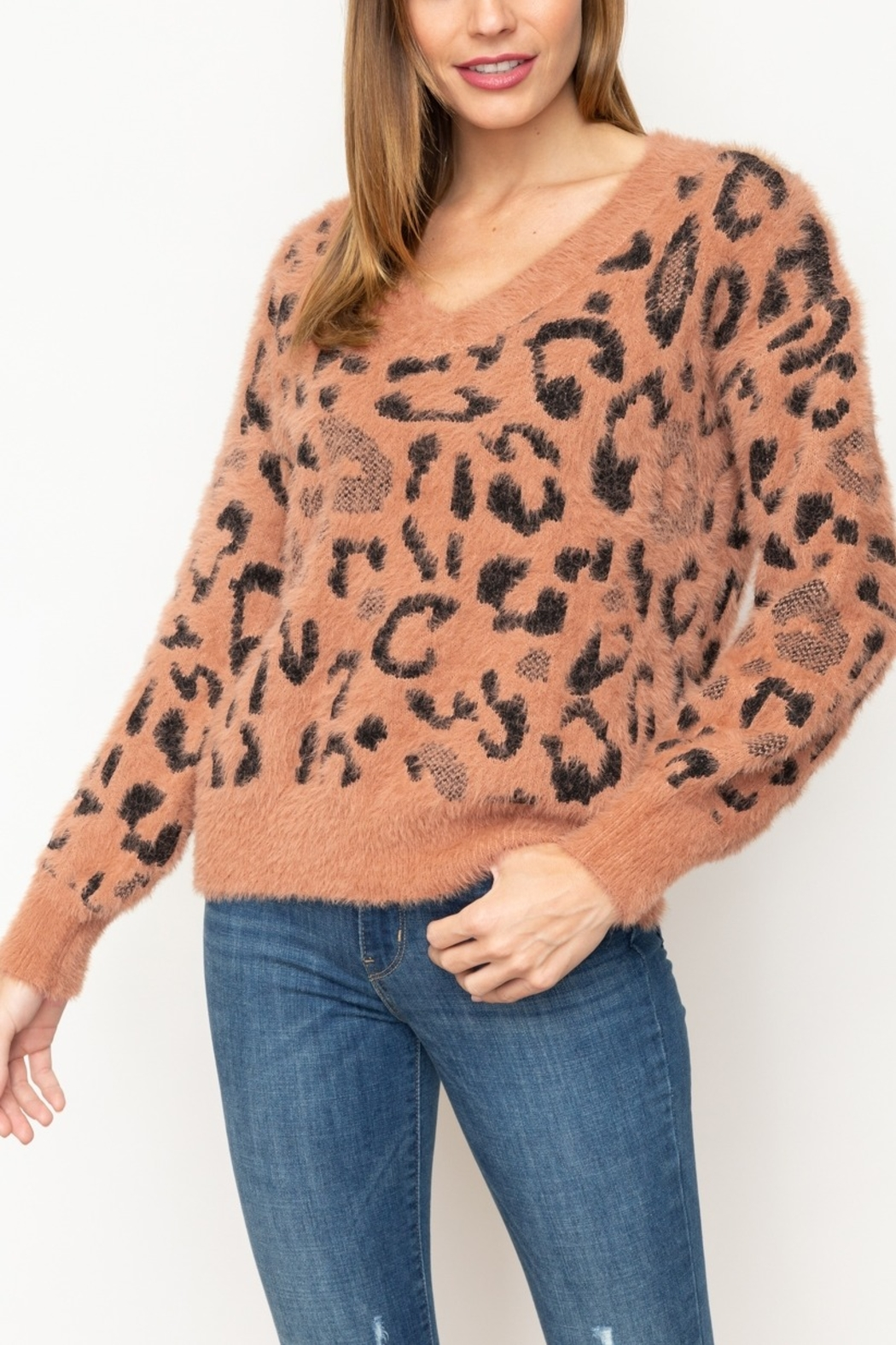 Mystree Fuzzy Animal Pullover - Front Cropped Image