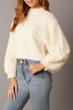 Cotton Candy LA Fuzzy Balloon-Sleeve Sweater - Product List Image