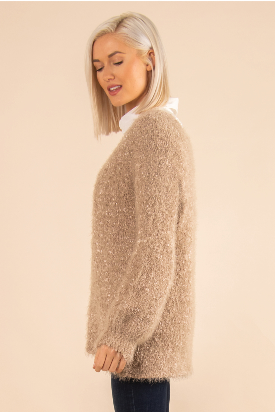 Simply Noelle Fuzzy Bear Sweater - Side Cropped Image