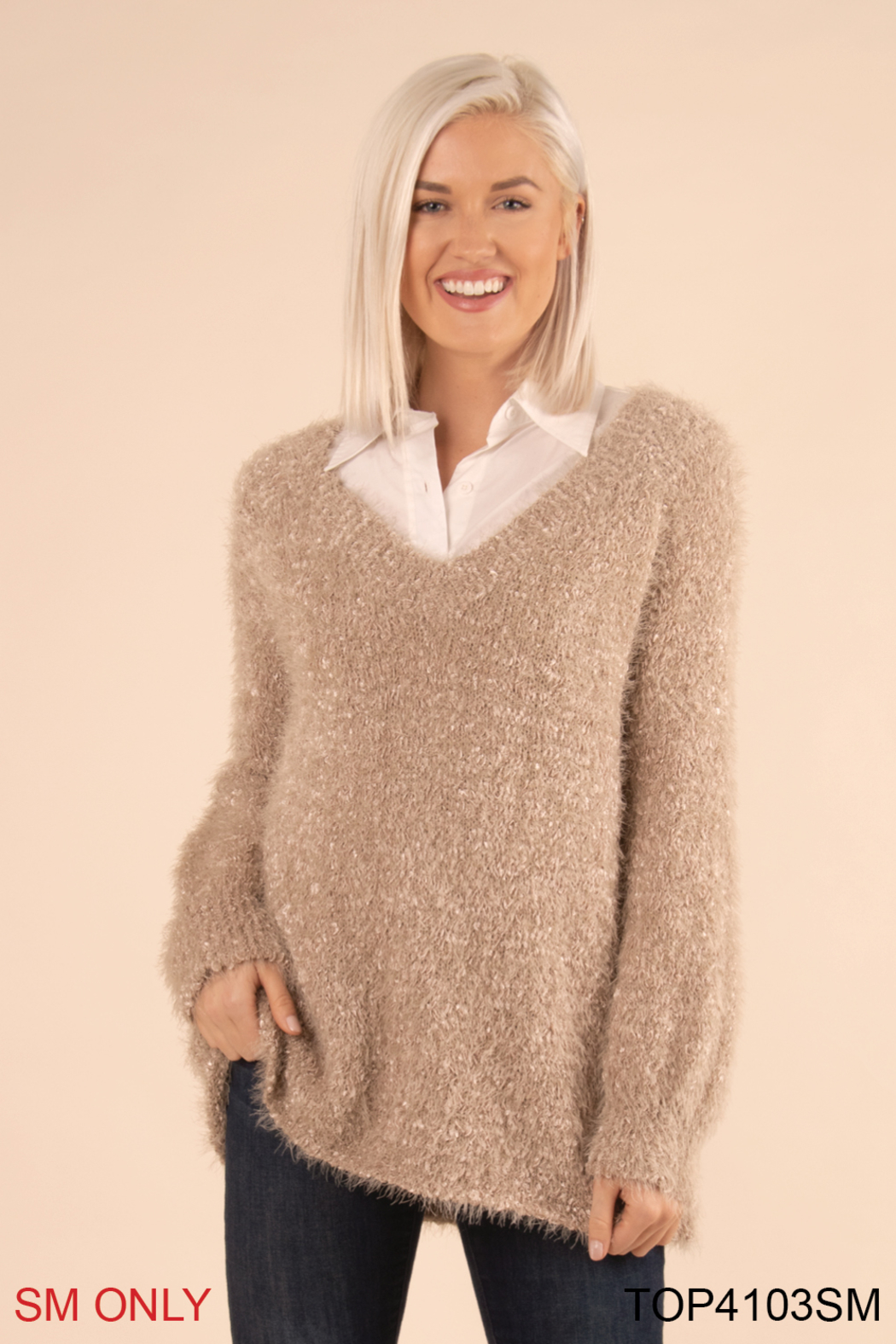 Simply Noelle Fuzzy Bear Sweater - Main Image