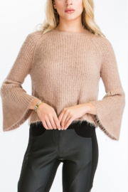 Olivaceous  Fuzzy Bell Sleeve Sweater - Product Mini Image