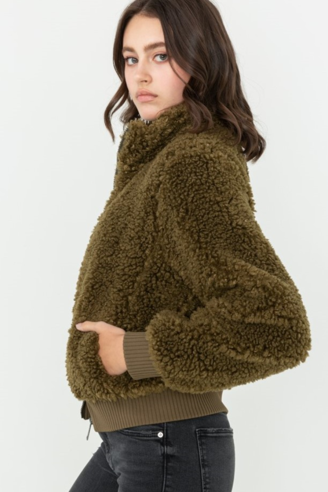 Love Tree  Fuzzy Bombe Jacket - Front Cropped Image