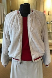 Lavender Brown Fuzzy Bomber Jacket - Product Mini Image
