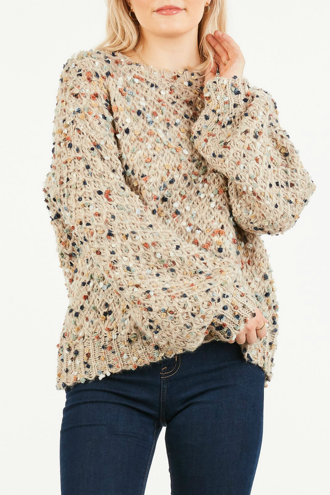 LoveRiche Fuzzy cable knit sweater - Main Image