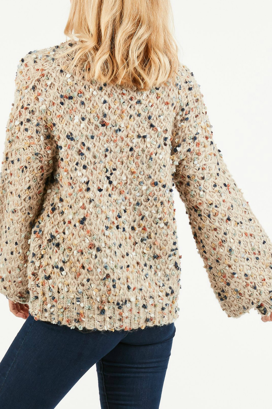 LoveRiche Fuzzy cable knit sweater - Front Full Image