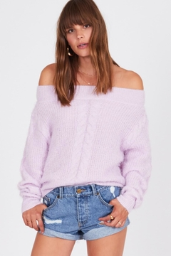Shoptiques Product: Fuzzy Cable Sweater