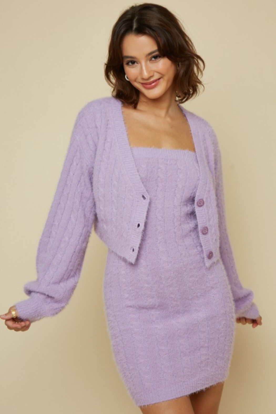 blue blush Fuzzy Cableknit Cardigan - Front Full Image