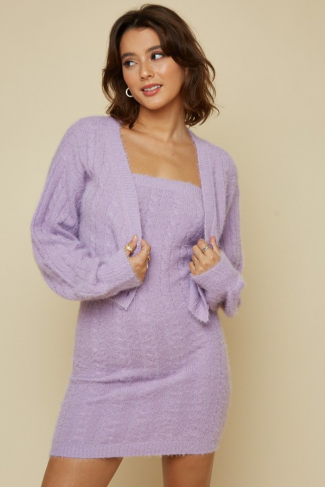 blue blush Fuzzy Cableknit Cardigan - Front Cropped Image
