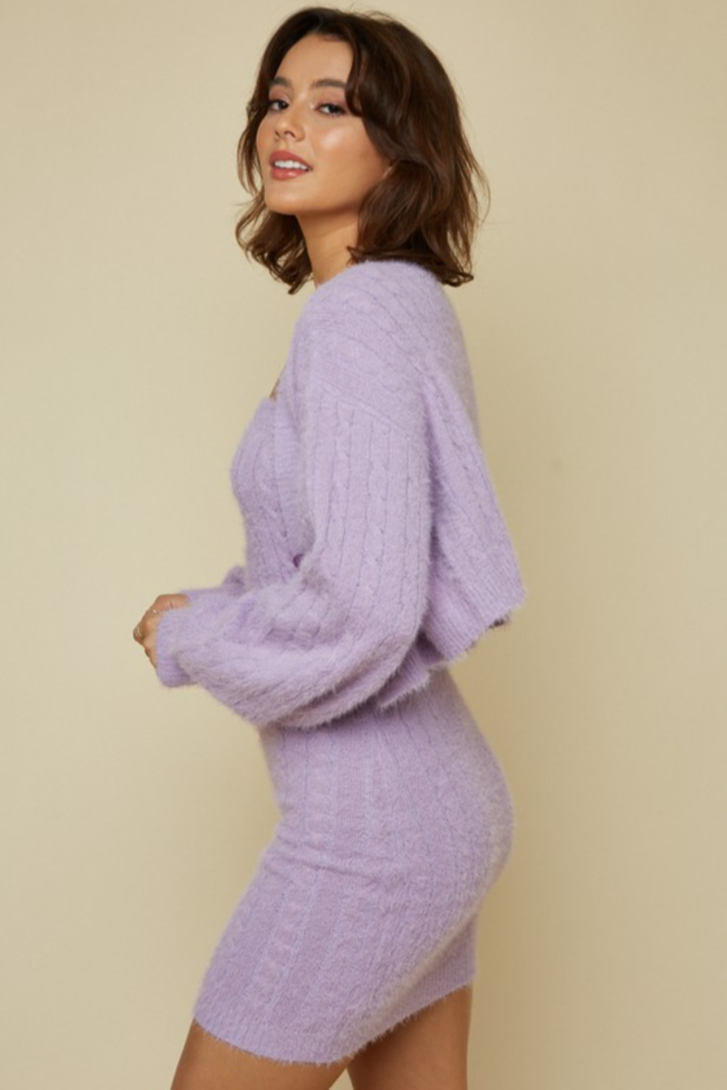 blue blush Fuzzy Cableknit Cardigan - Side Cropped Image