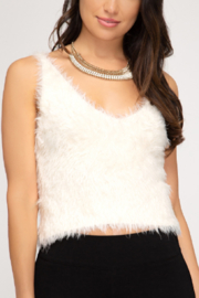 She and Sky Fuzzy Cami Top - Front cropped
