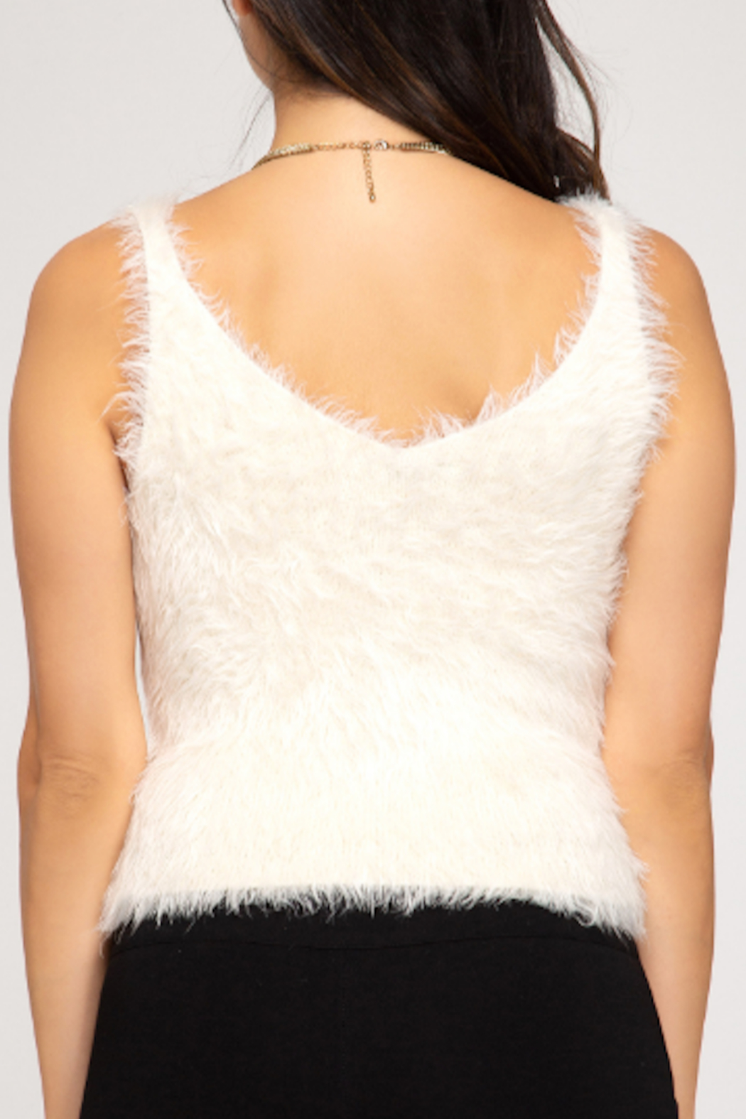 She and Sky Fuzzy Cami Top - Front Full Image