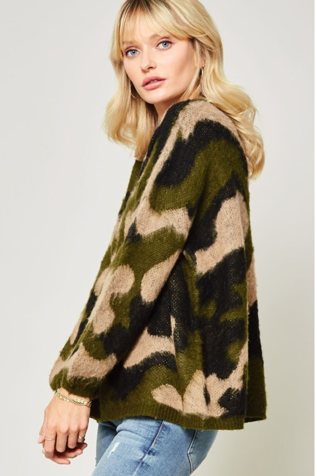 A Beauty by BNB  Fuzzy Camo Pullover - Front Full Image