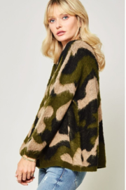 A Beauty by BNB  Fuzzy Camo Pullover - Front full body