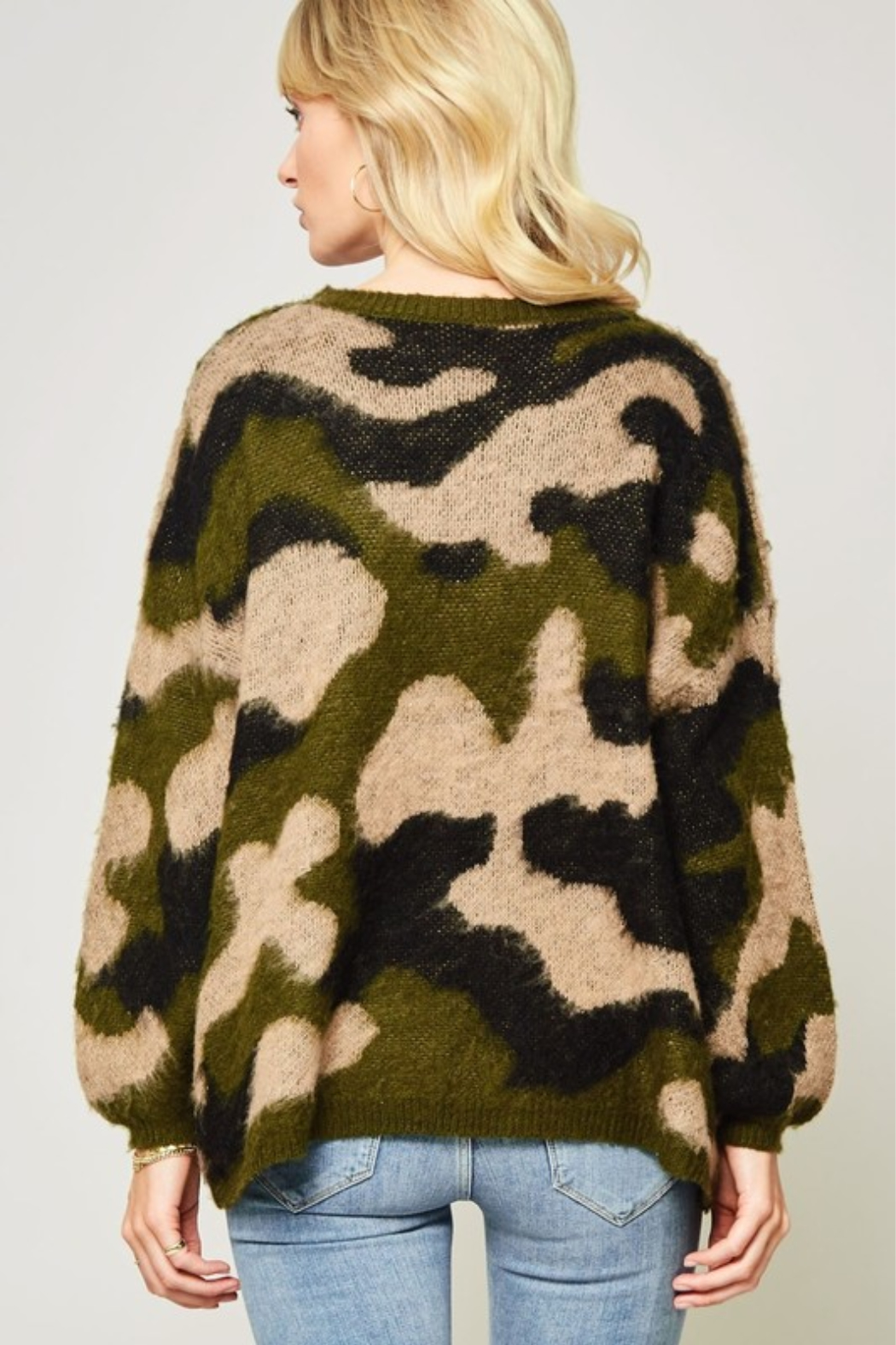 A Beauty by BNB  Fuzzy Camo Pullover - Side Cropped Image