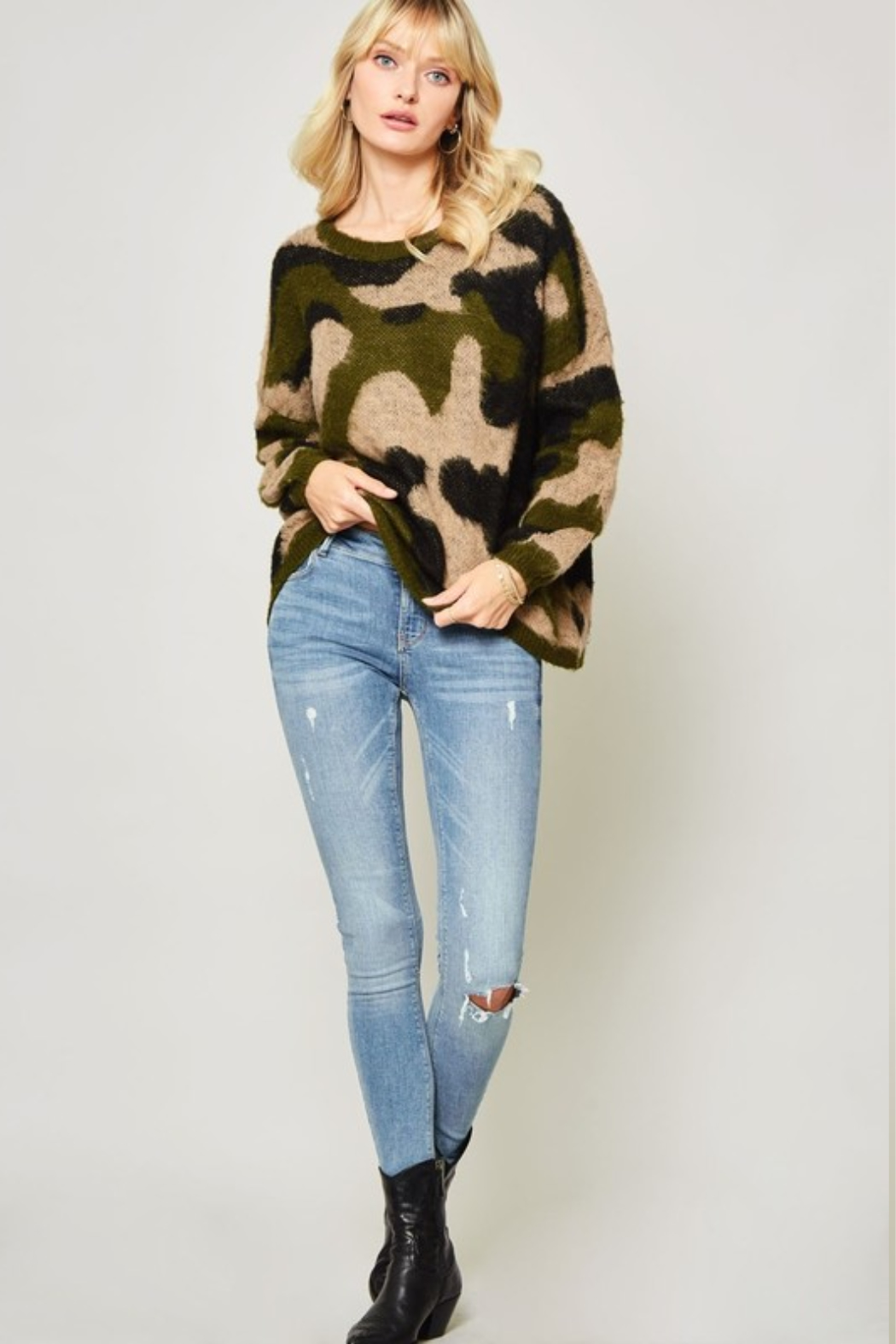 A Beauty by BNB  Fuzzy Camo Pullover - Back Cropped Image
