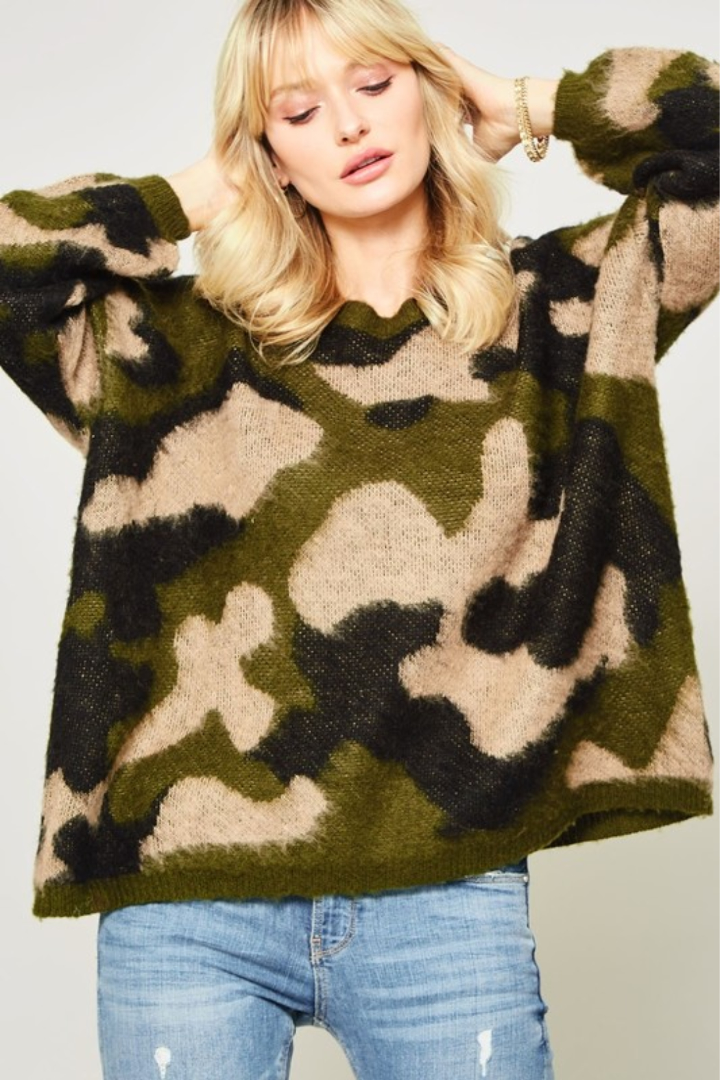A Beauty by BNB  Fuzzy Camo Pullover - Main Image