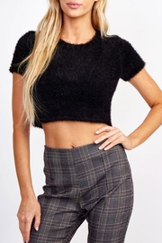 Olivaceous Fuzzy Crop Sweater - Product Mini Image