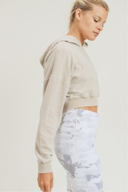 Mono B Fuzzy Cropped Hoodie Pullover - Side cropped