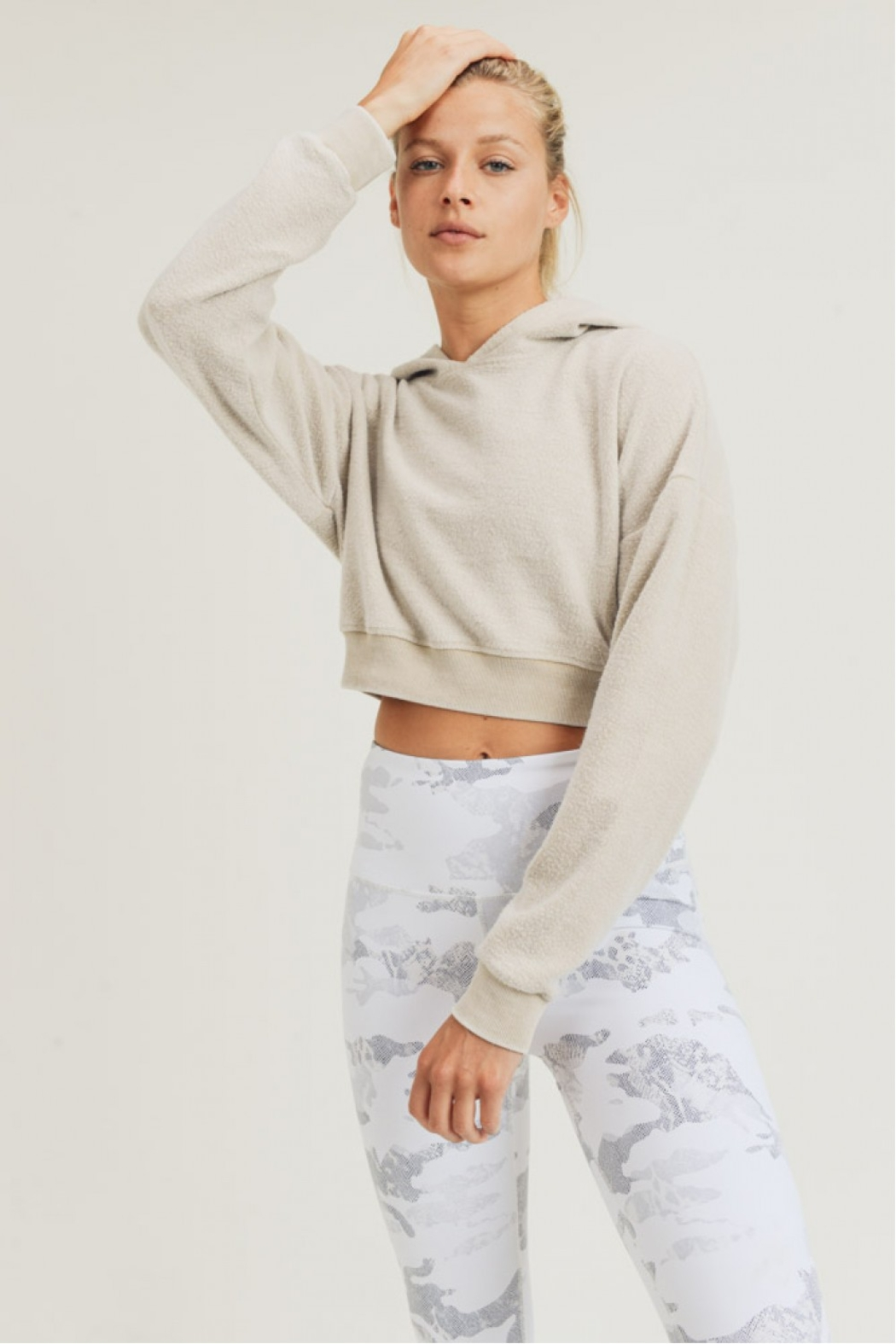 Mono B Fuzzy Cropped Hoodie Pullover - Main Image