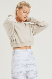 Mono B Fuzzy Cropped Hoodie Pullover - Front full body