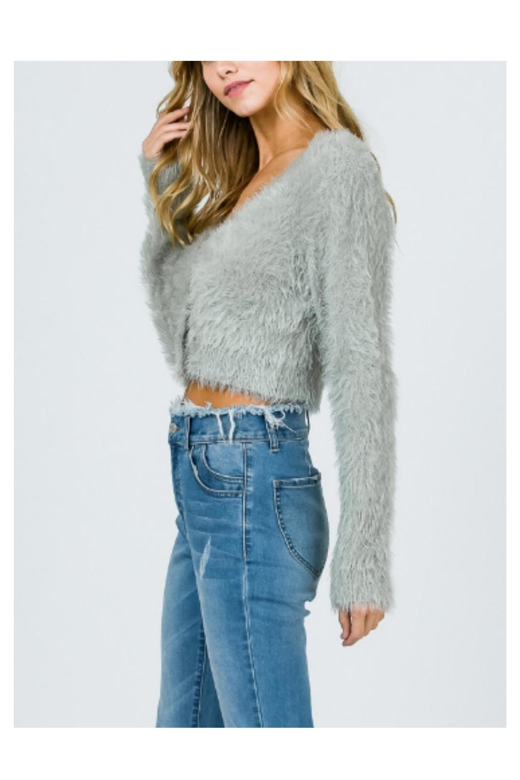 Uniq Fuzzy Cropped Sweater - Front Full Image