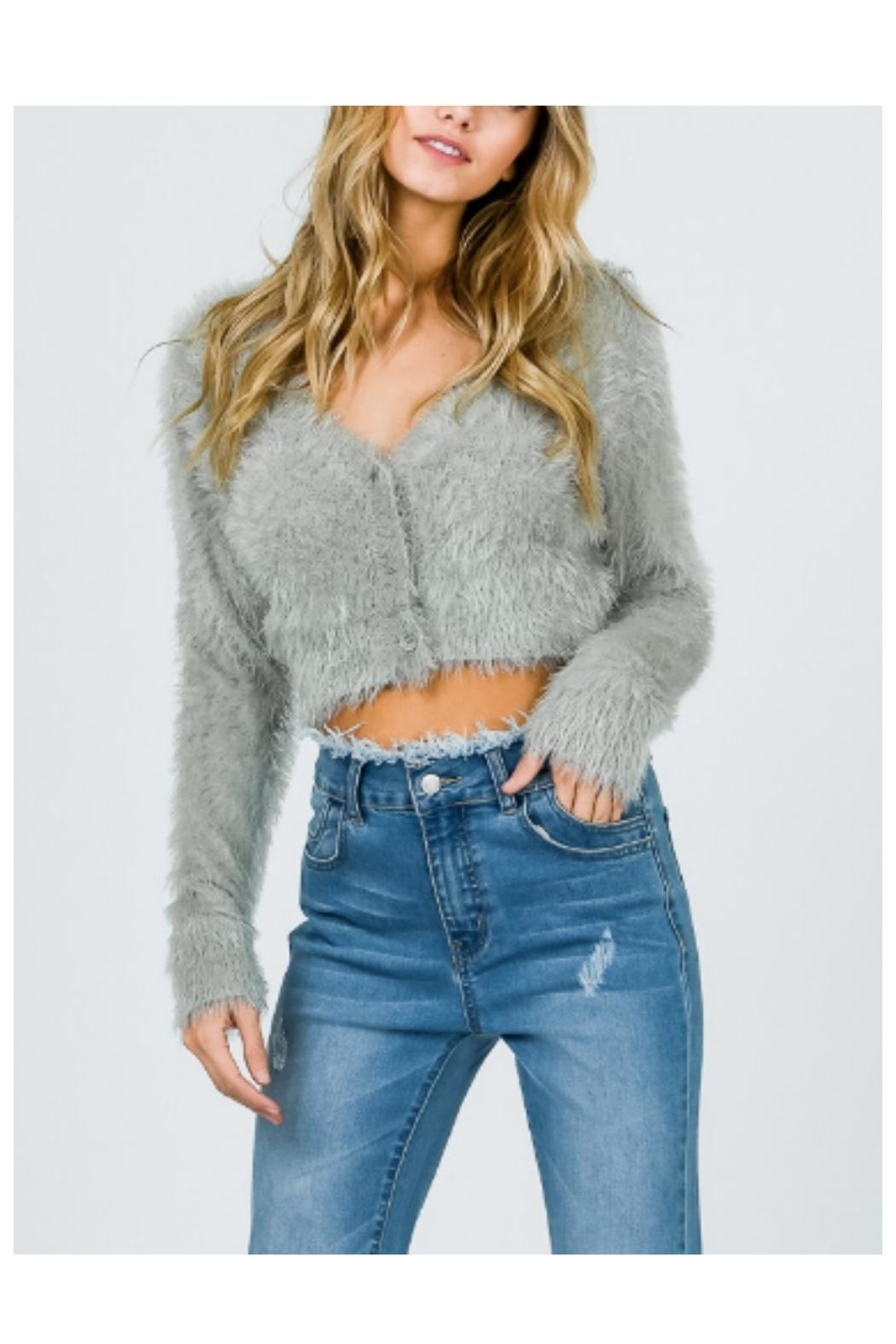 Uniq Fuzzy Cropped Sweater - Front Cropped Image