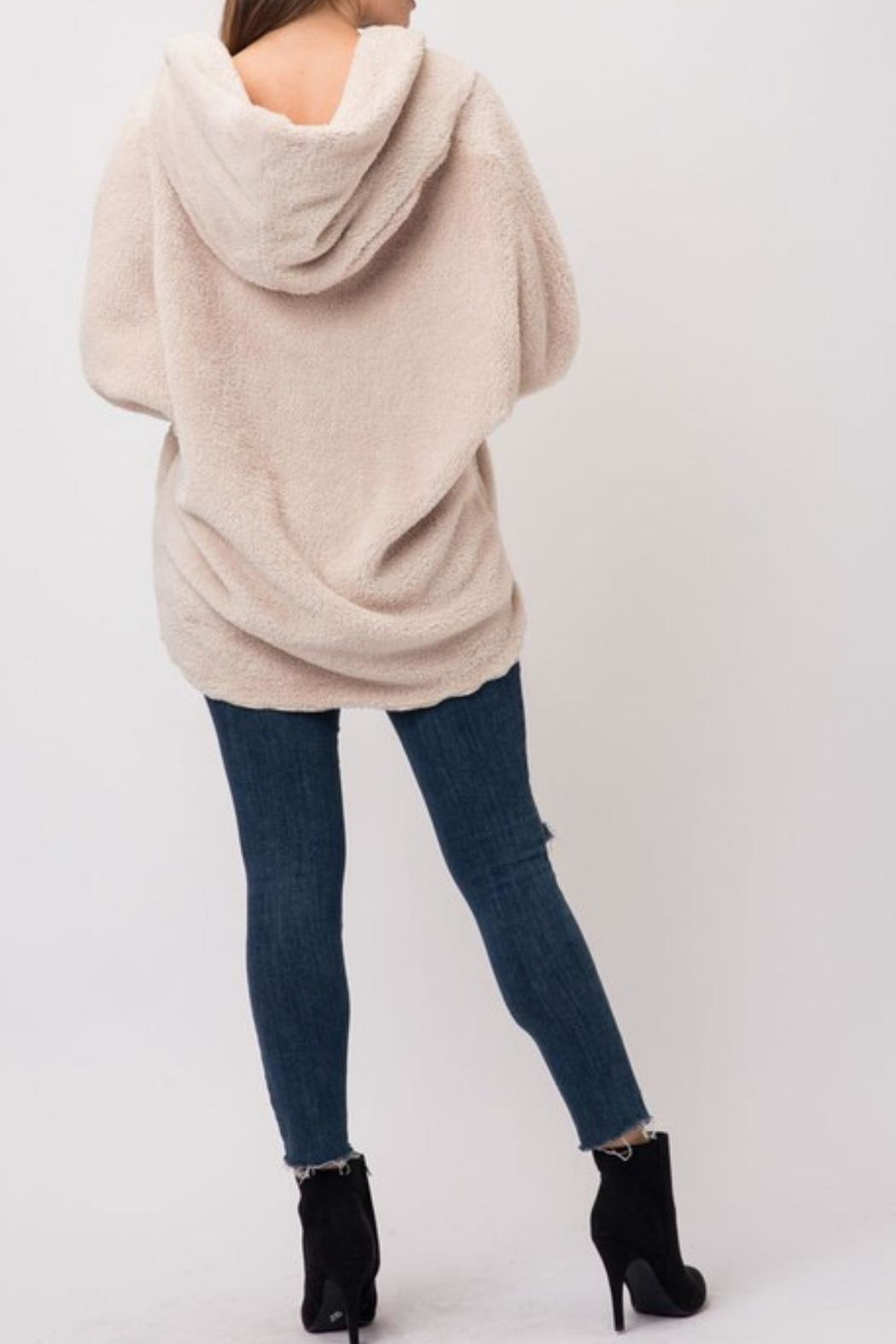 Cozy Casual Fuzzy Fleece Hoodie - Back Cropped Image