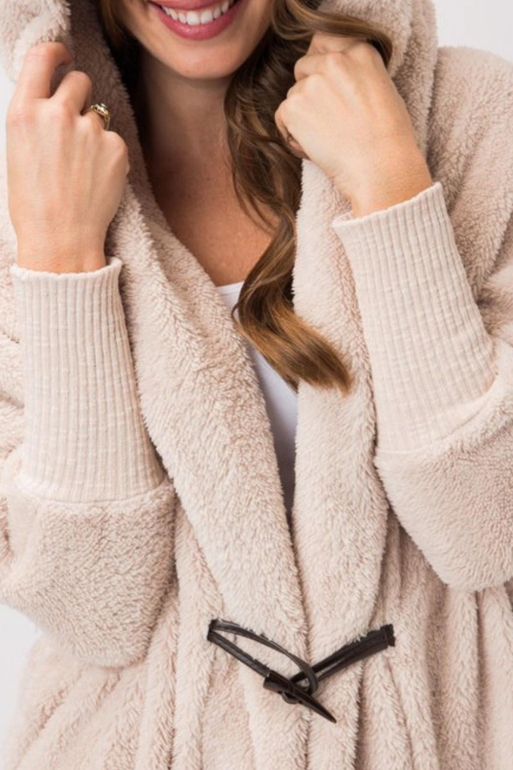 Cozy Casual Fuzzy Fleece Hoodie - Side Cropped Image
